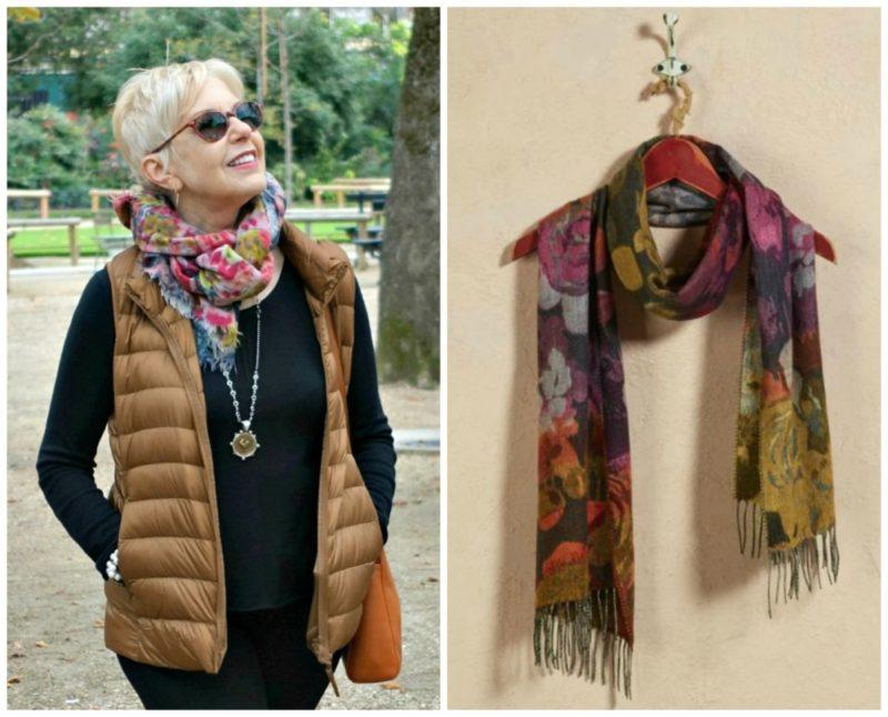 Floral scarves in fall colors. Details at une femme d'un certain age.