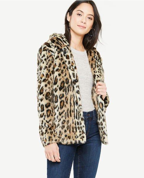 Ann Taylor hooded leopard print jacket. Details at une femme d'un certain age.