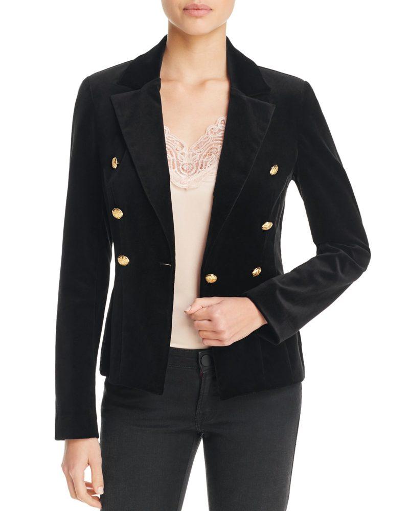 AQUA military-style velvet blazer. Details at une femme d'un certain age.