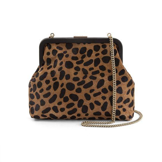Clare V. Flore frame bag in leopard print. Details at une femme d'un certain age.