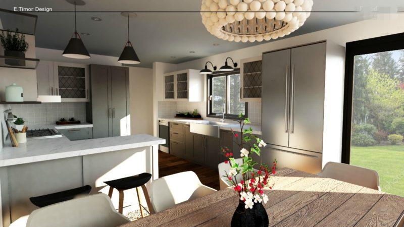 3-D rendering grey and white kitchen. Details at une femme d'un certain age.
