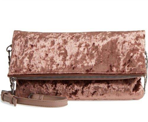 mauve velvet foldover clutch bag. Details at une femme d'un certain age.