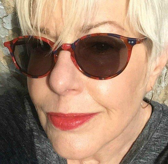 Wearing Bite Beauty Amuse Bouche Lipstick in Maple, natural light. More at une femme d'un certain age.