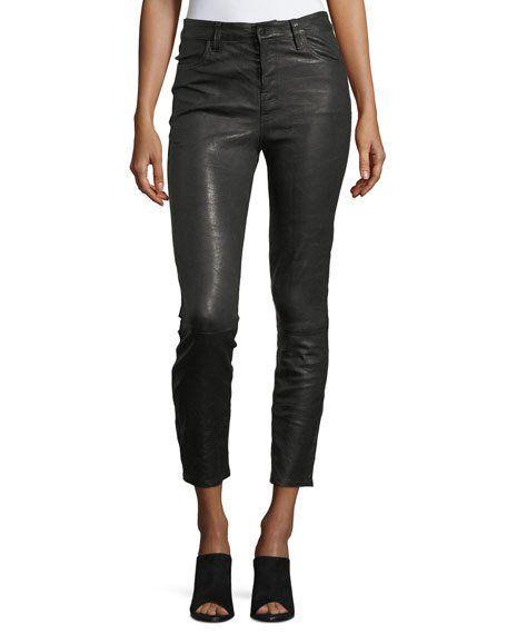 J Brand leather slim leg pants on sale. Details at une femme d'un certain age.