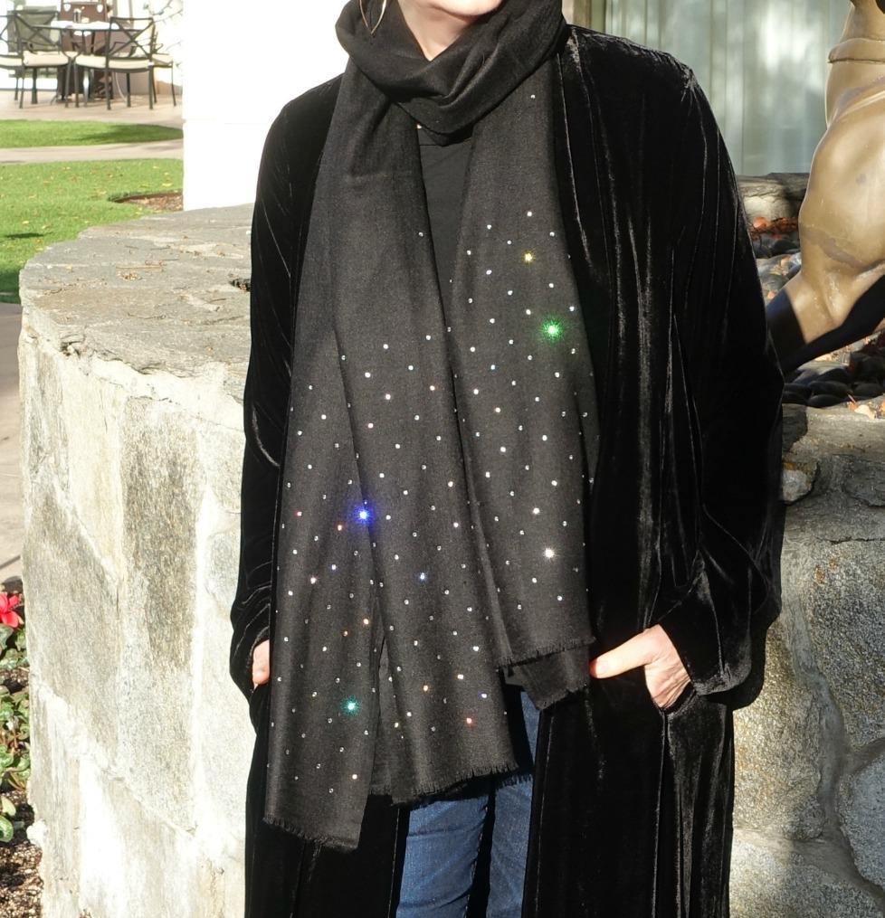 Black silk/cashmere wrap with Swarovski crystals. Details at une femme d'un certain age.