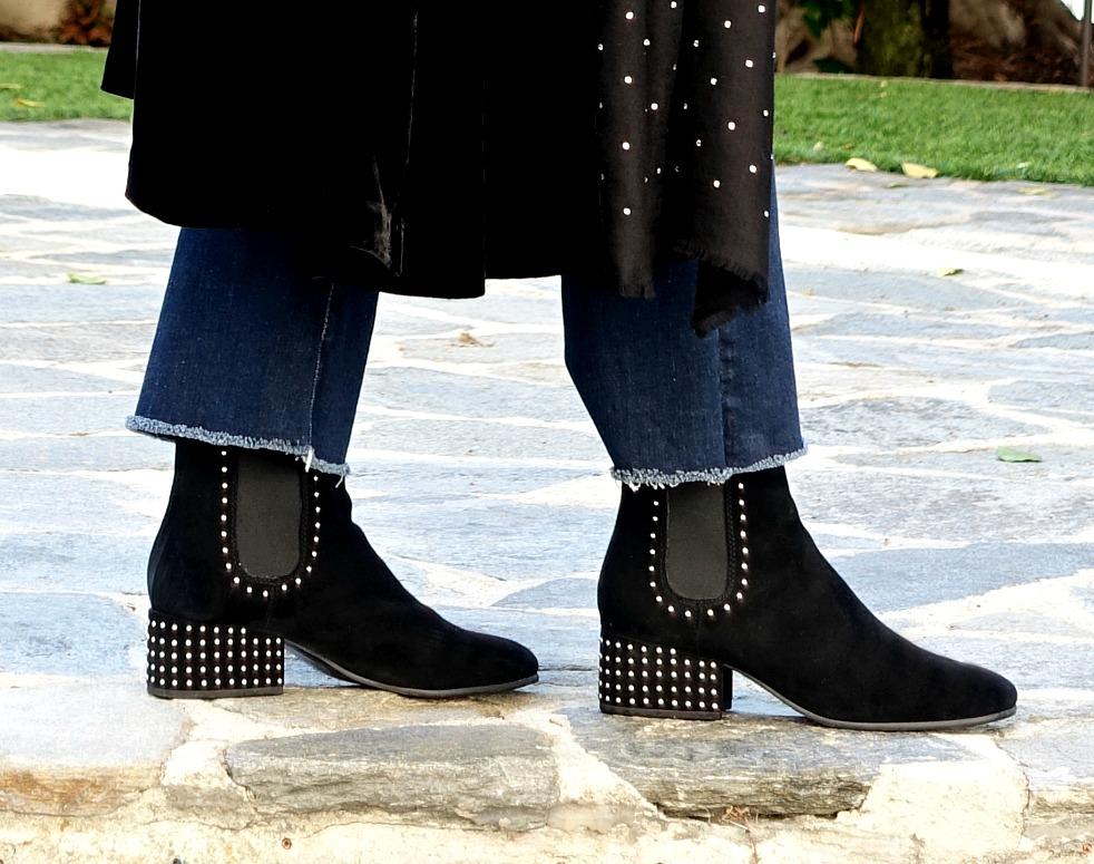 Marc Fisher studded black ankle boots. Details at une femme d'un certain age.