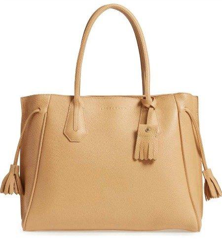 Longchamp Penelope tassel tote. Details at une femme d'un certain age.