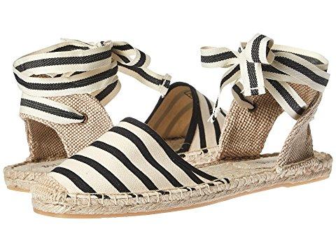 striped espadrille sandal with ankle tie. Details at une femme d'un certain age.