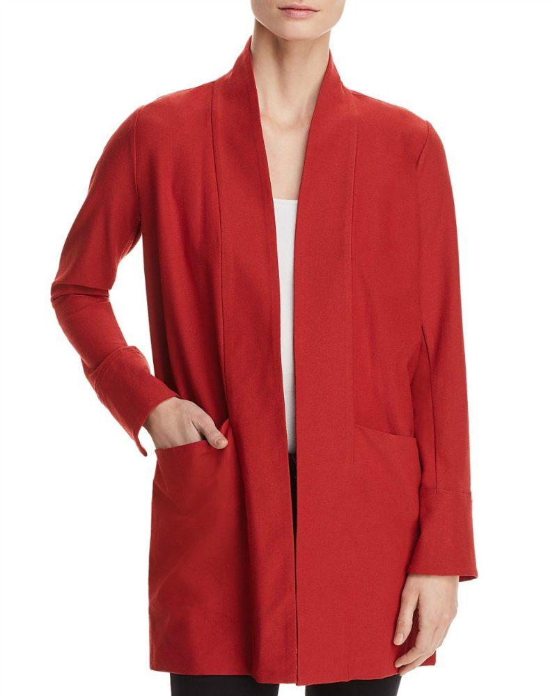 Eileen Fisher stretch crepe kimono jacket. Details at une femme d'un certain age.