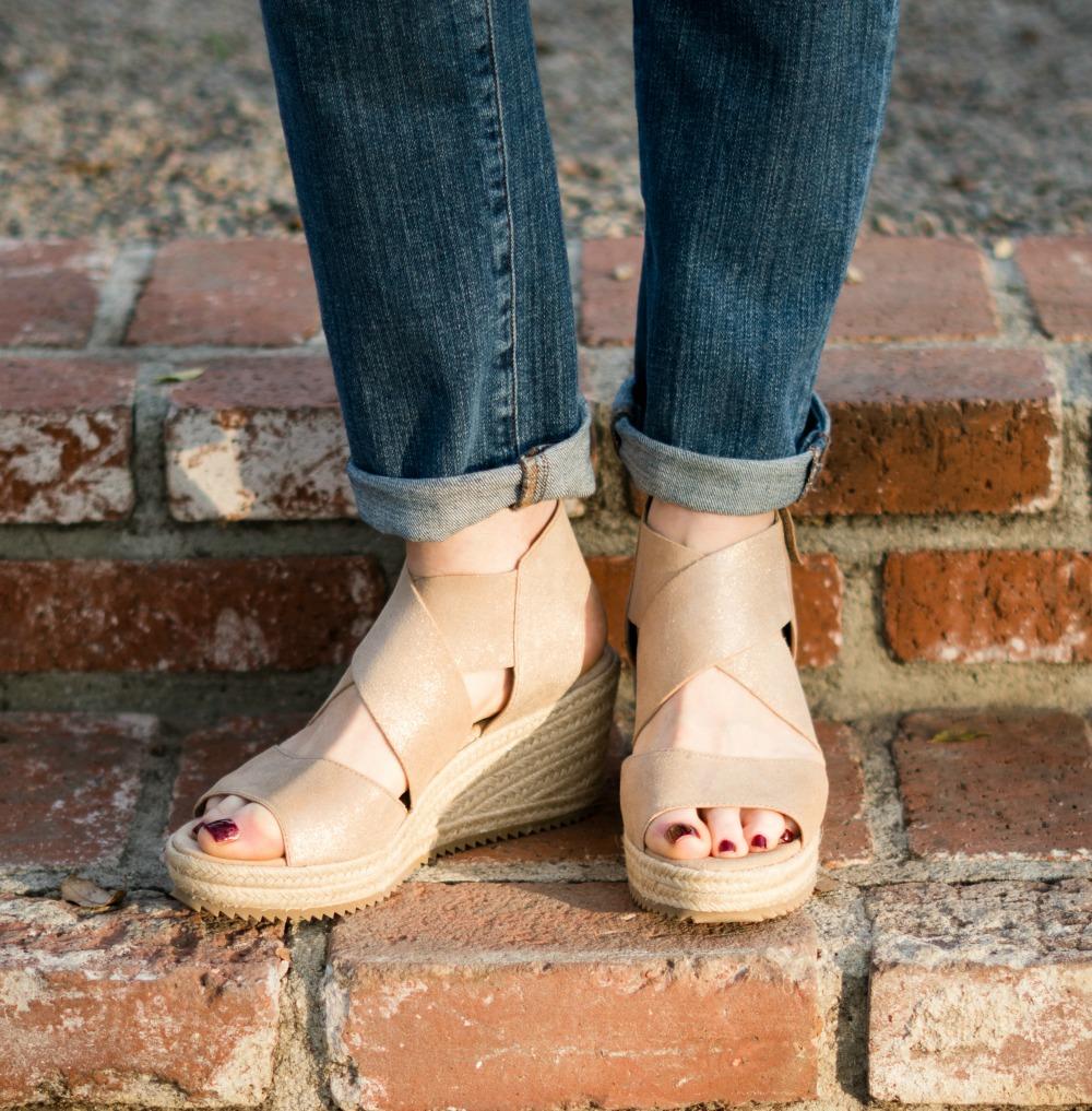 eca9c5779c7b Detail  Eileen Fisher wedge espadrille sandals in light gold.