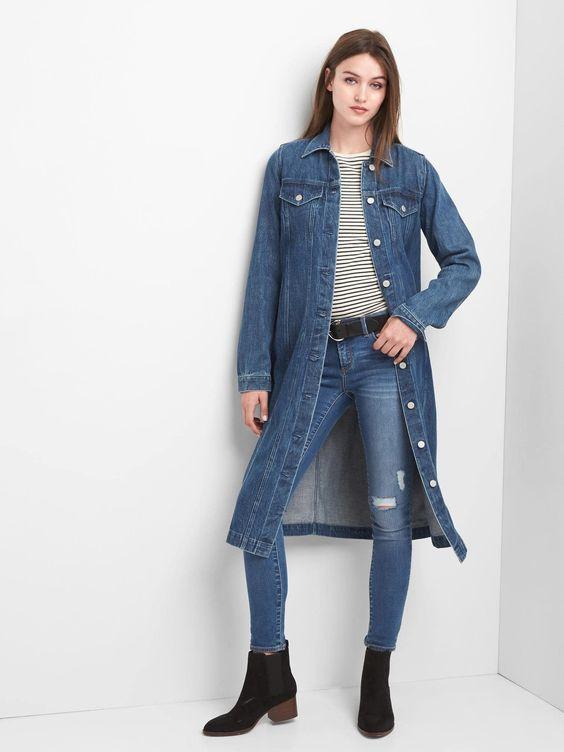 Denim duster jacket from Gap. Details at une femme d'un certain age.