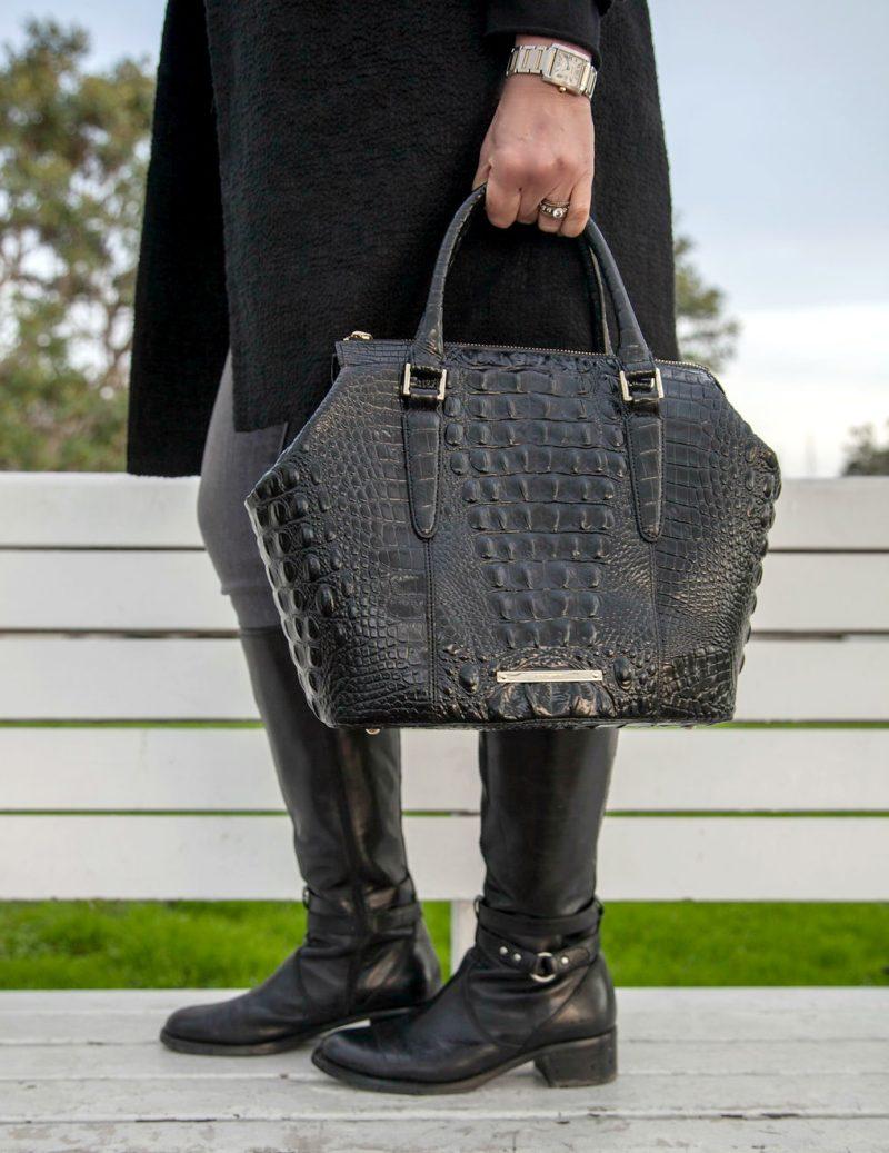 Oldies but goodies: a Brahmin satchel and Etienne Aigner riding boots. Details at une femme d'un certain age.