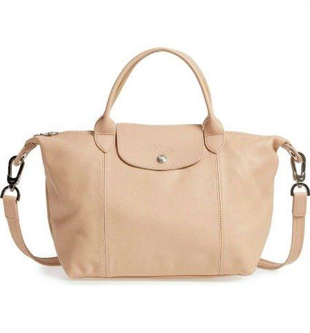 Beige leather Longchamp Le Pliage bag. Details at une femme d'un certain age.