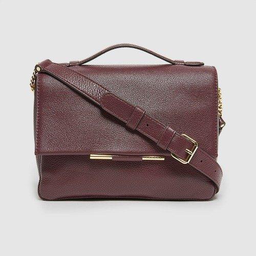Sandro Bianca shoulder bag with top handle in Burgundy. Details at une femme d'un certain age.