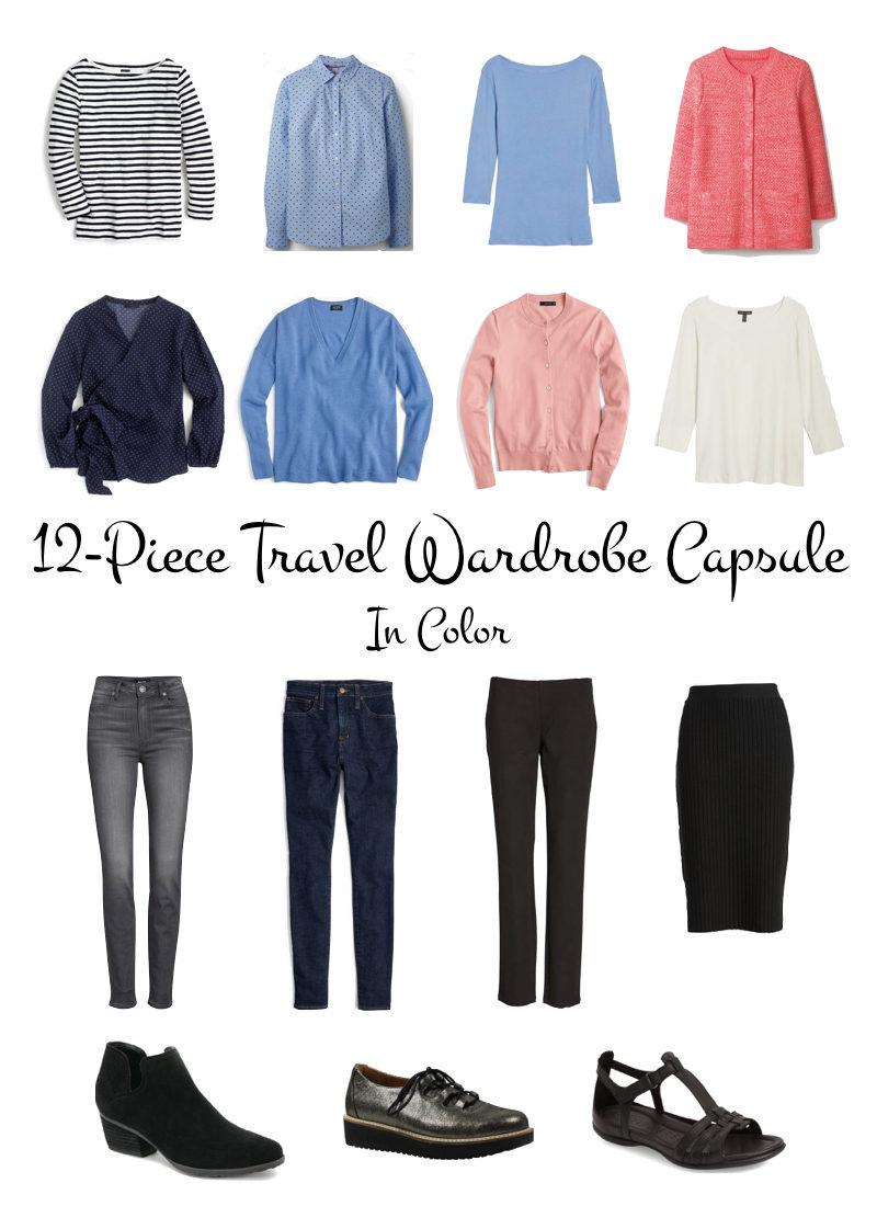 12-piece Spring travel wardrobe incorporating color. Details at une femme d'un certain age.