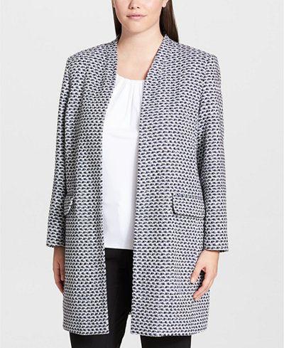 Calvin Klein Plus metallic tweed jacket in white/navy. Details at une femme d'un certain age.