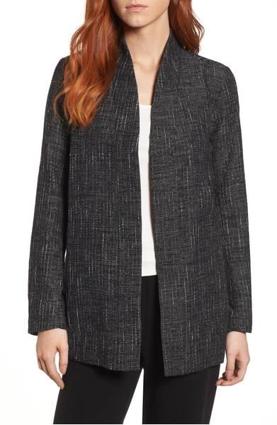 Eileen Fisher open tweed jacket. Details at une femme d'un certain age.