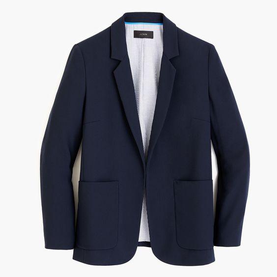 Open-front navy blazer from J.Crew. Details at une femme d'un certain age.