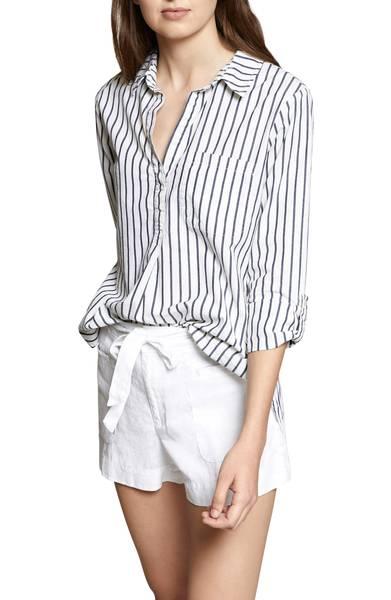 Striped cotton tunic. Details at une femme d'un certain age.