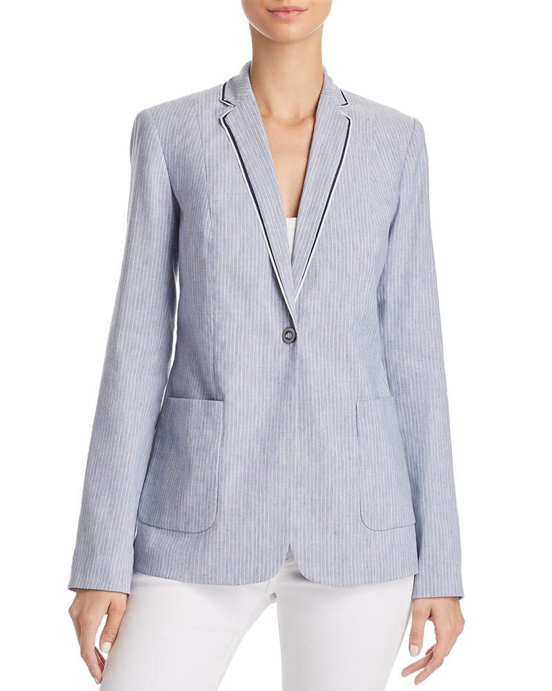 T Tahari pinstripe linen blend blazer. Details at une femme d'un certain age.