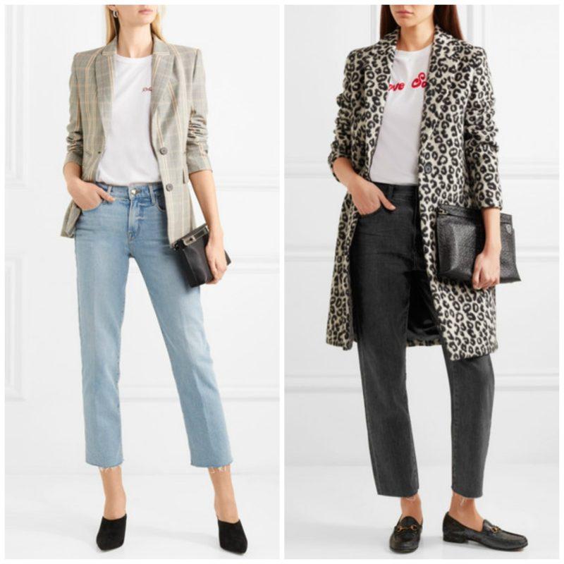 Two outfits featuring straight leg jeans. Details at une femme d'un certain age.