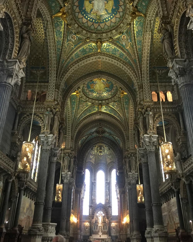 Basilique Notre Dame de Fourviere cathedral in Lyon France. Details at une femme d'un certain age.