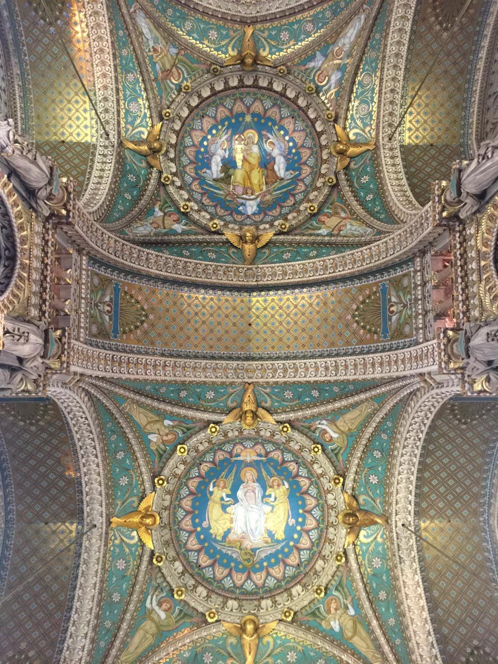 Ceiling of Basilique Notre Dame de Fourviere in Lyon. Details at une femme d'un certain age.