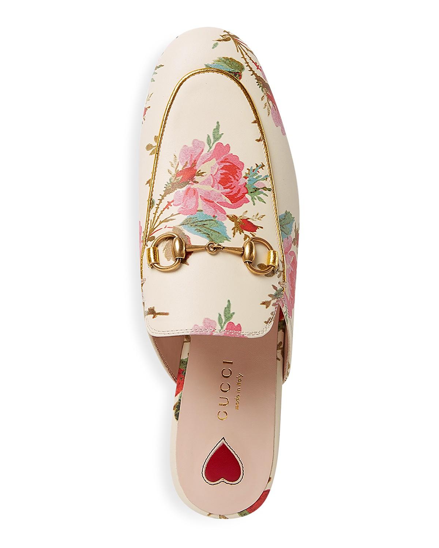 Gucci Princetown mules in floral print. Details at une femme d'un certain age.