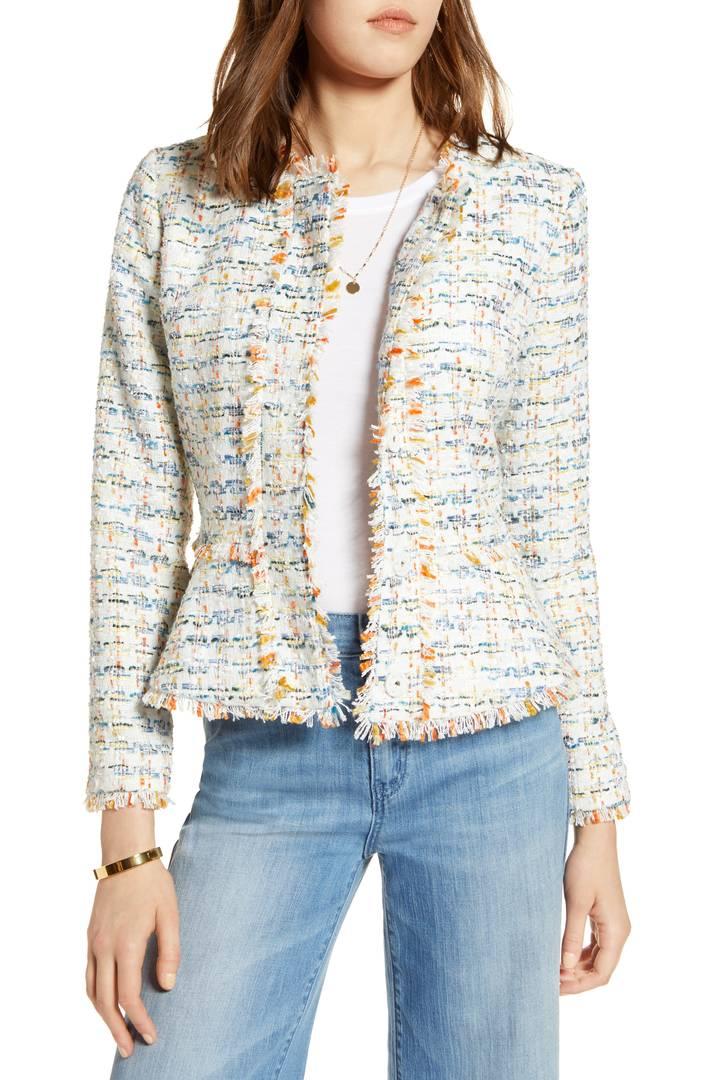Halogen multi-color tweed jacket. Details at une femme d'un certain age.