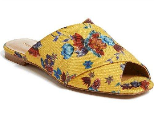 Yellow floral print slide sandal. Details at une femme d'un certain age.