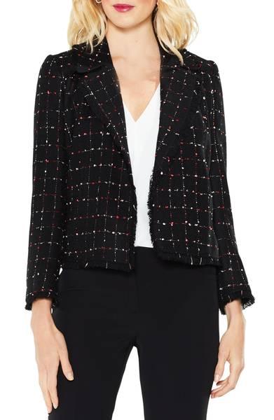 Vince Camuto windowpane tweed jacket. Details at une femme d'un certain age.