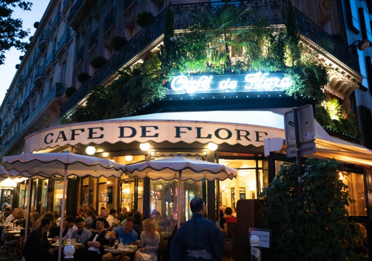 Evening outside Cafe de Flore in Paris. More at une femme d'un certain age.