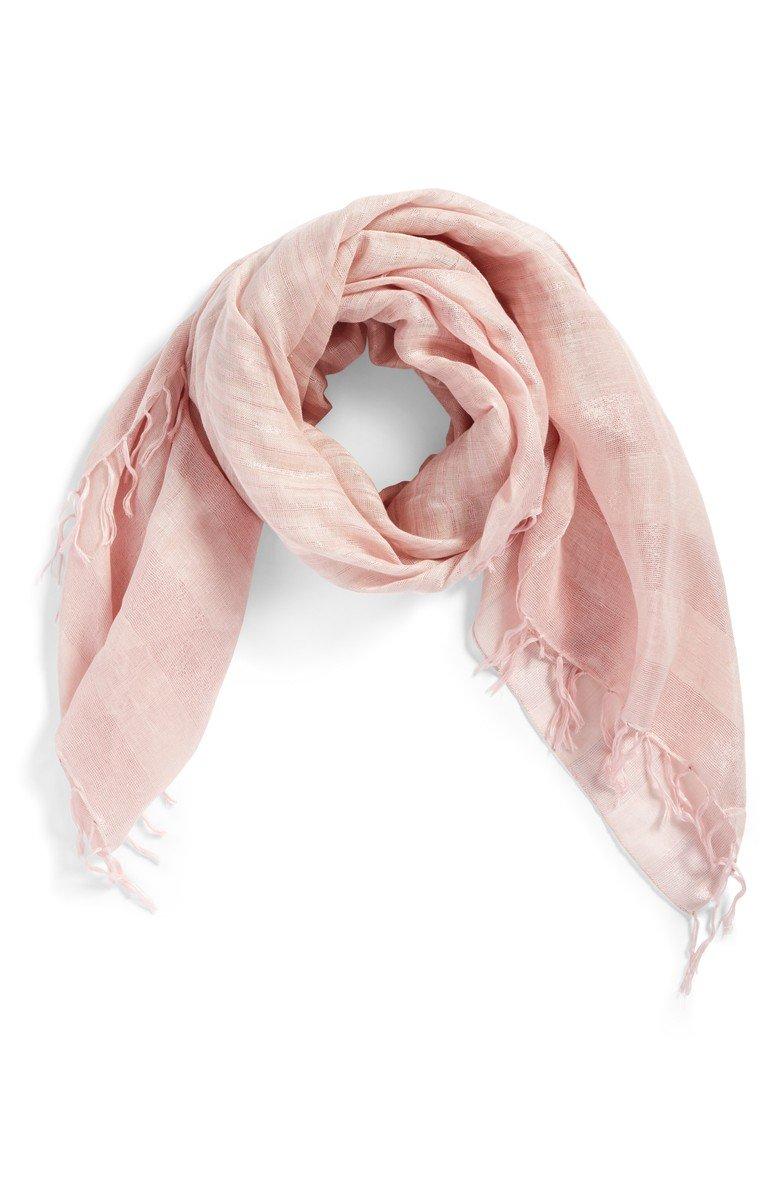 Gauzy pink linen scarf. Details at une femme d'un certain age.