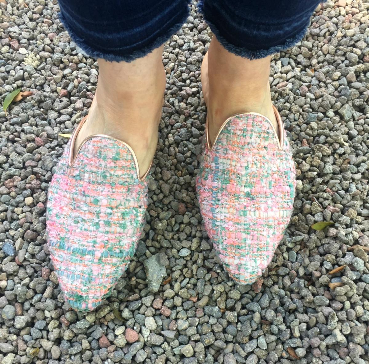 Chatelles pink tweed mules. Details at une femme d'un certain age.