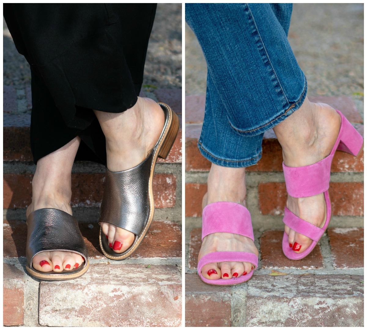 Two pairs of slide sandals: metallic low-heel and pink suede block heel. Details at une femme d'un certain age.