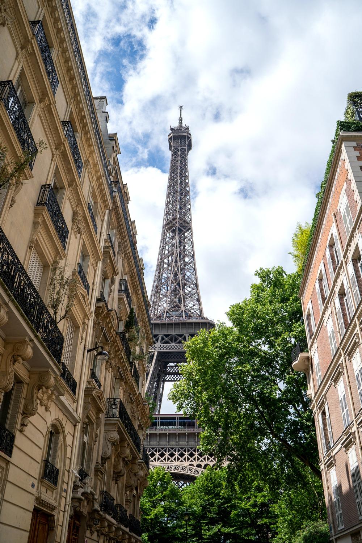 View of Eiffel Tower Paris from rue de l'Universite. Details at une femme d'un certain age.