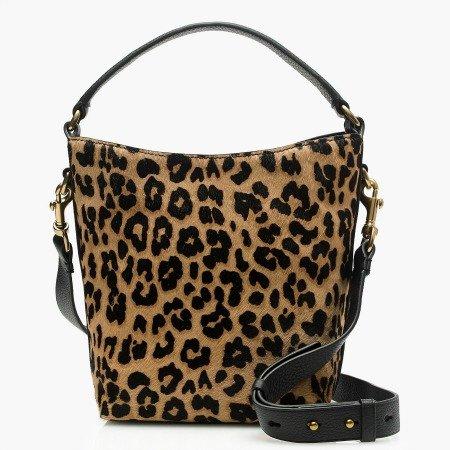 leopard print bucket bag with removable cross-body strap. Details at une femme d'un certain age.