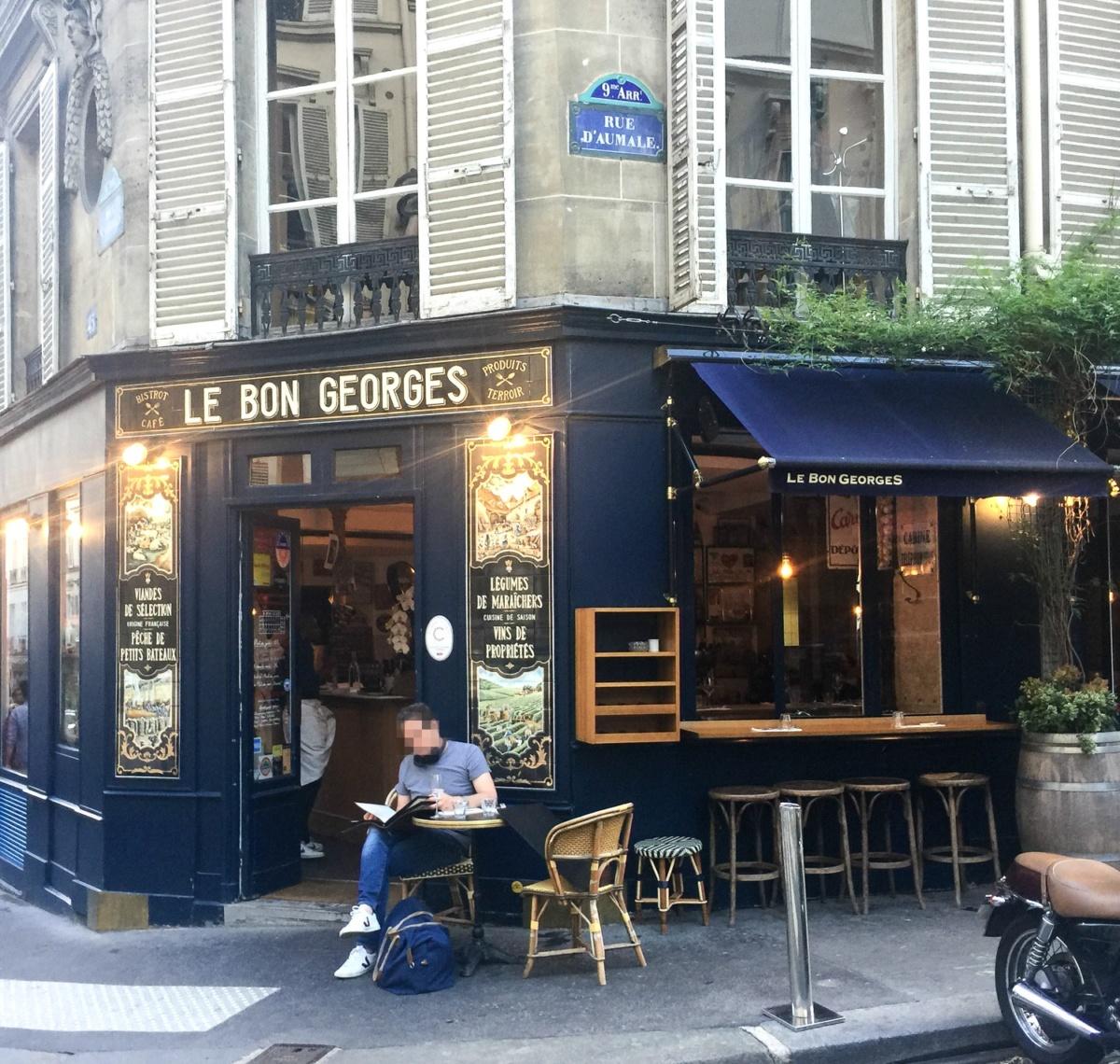 Outside view of Le Bon Georges in 9eme Paris. Read my entire France restaurant recap at une femme d'un certain age.