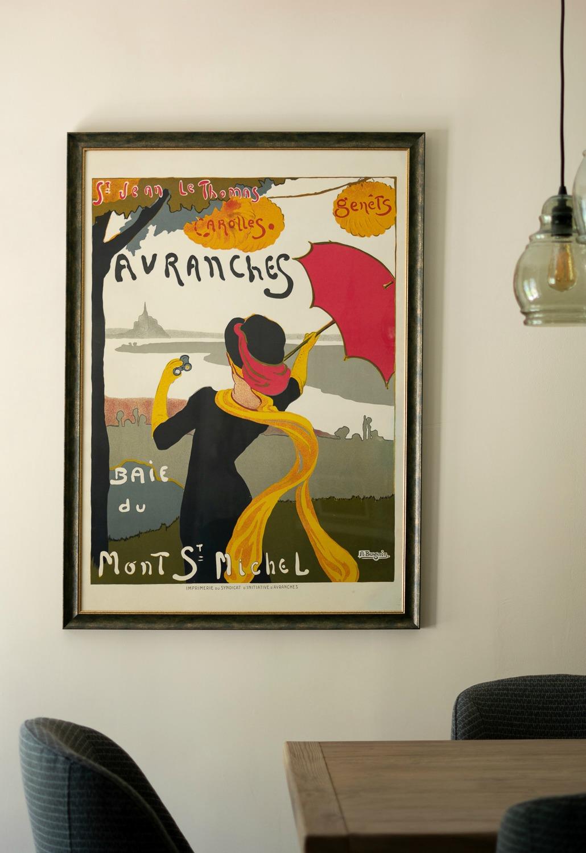 Avranches 1920 vintage poster. Details at une femme d'un certain age.