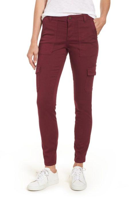 Caslon burgundy cargo pants. Details at une femme d'un certain age.