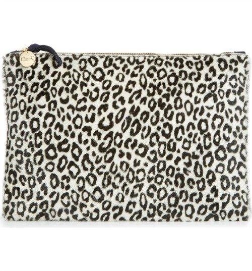 Clare V. monochromatic leopard print clutch. Details at une femme d'un certain age.
