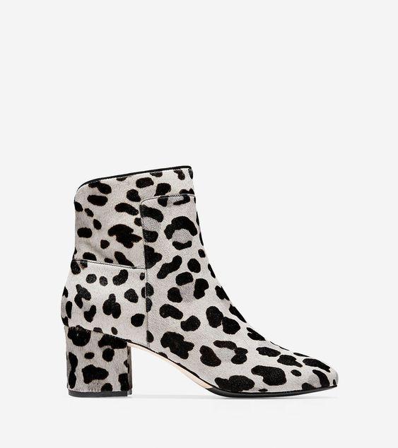 Cole Haan leopard print boots in grey. Details at une femme d'un certain age.