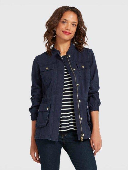 Cotton utility jacket in Navy. Details at une femme d'un certain age.