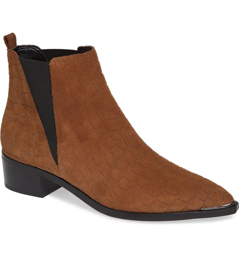Brown suede croc-embossed chelsea boots. Details at une femme d'un certain age.