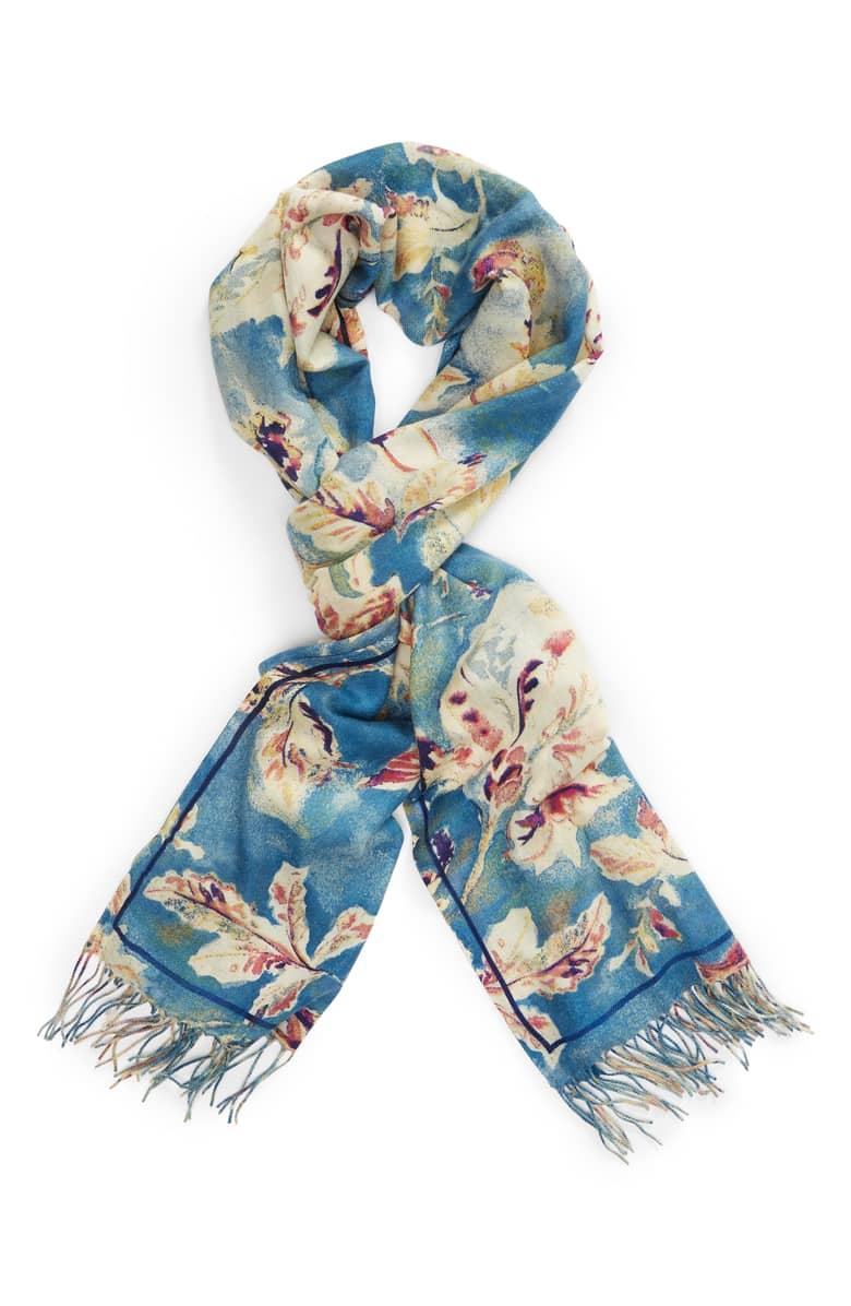 Blue fall floral wool-cashmere scarf. Details at une femme d'un certain age.