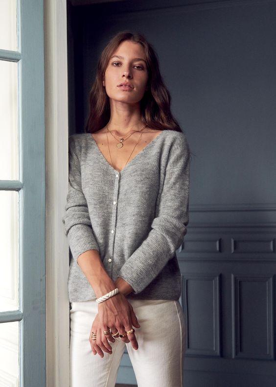 Sezane button-front v-neck sweater in light grey. Details at une femme d'un certain age.