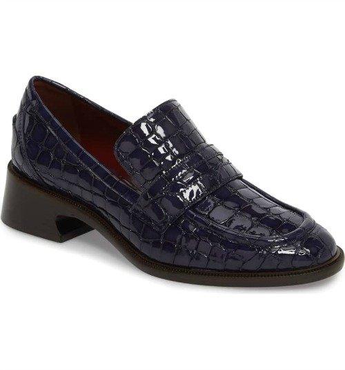 Sies Marjan croc embossed navy patent loafer. Details at une femme d'un certain age.