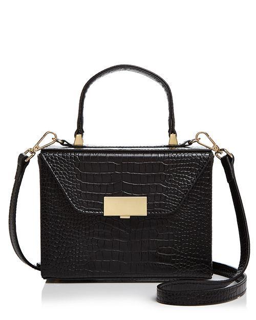 AQUA crocodile embossed leather satchel. Details at une femme d'un certain age.