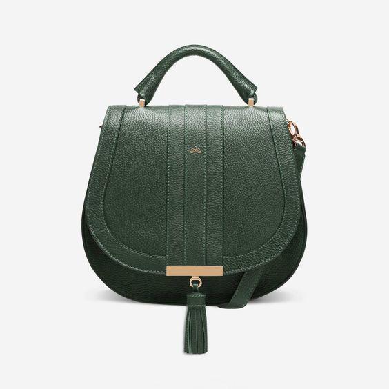 DeMellier London midi-venice bag in Forest grain leather. Details at une femme d'un certain age.