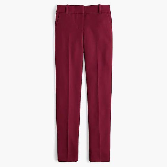 J.Crew cameron pants burgundy. Details at une femme d'un certain age.
